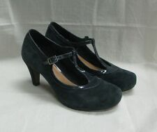 Clarks Navy Blue suede T-Bar Mary Jane heeled  shoes size 5.5 D