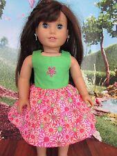 "homemade 18"" american girl/madame alexander b pink flower sundress doll clothes"