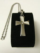 SHR & SIMMONS STAINLESS STEEL & DIAMOND CROSS NECKLACE SP1023DIA-NEW ORIG. $199