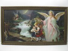 Vintage Guardian Angel Watching Over Children Print Picture Framed N