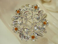 Very Pretty Vintage 1950s Rhinestone Flower Brooch  329H