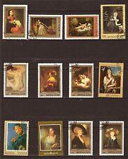 21T1 RUSSIE-URSS 12 timbres obliteres :  tableaux celebres avec modele feminin