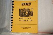 Manual for Sprague TO-6 Capacitor Analyzer
