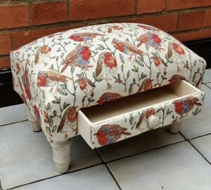 Bird Design Robins Fabric Footstool With Drawer - Christmas New