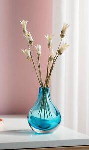 CASAMOTION - Vase Hand Blown Glass Bud Vase - 10 * 10 * 13.5cm,Blue