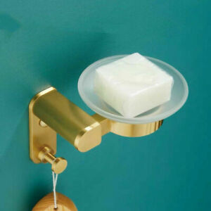 New Wall Mount Bathroom Brushed Gold Aluminum+Glass Soap Dish Holder With Hook