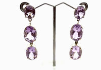 Vintage Large Heavy Sterling Silver Amethyst Drop Post Earrings GIFT BOXED