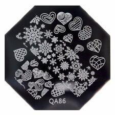 CHRISTMAS SNOWFLAKE HEART NAIL ART STAMPING PLATE IMAGES STAMPER MANICURE POL...