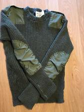 British Military Surplus Commando Wool Sweater, Olive Drab, Used