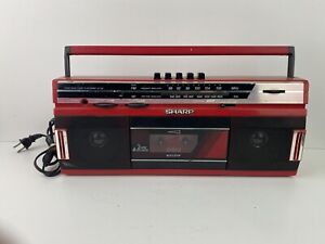 Vintage Sharp QT-242 (R) Boombox Portable FM AM Radio Cassette Deck - Red Testef