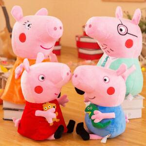 Schweine Peppa Wutz Pig Familie Plüschtiere Plüsch Eltern Puppe Stofftier 4Pcs