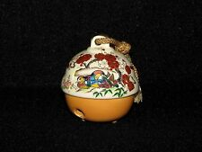 Japanese Porcelain Sleigh Bell Jingle Birds, Trees and Flowers