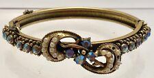 Vintage Florenza Bangle Bracelet Blue Clear Rhinestones Faux Pearls Florenzao