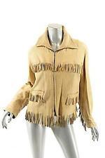 Beige WESTERN 100% Pebble Leather Zip Jacket w/Fringe + Pockets Handmade US 6/8