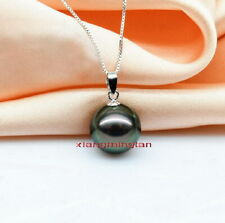 Australia Top quality REAL round black GREEN 11-12MM TAHITIAN PEARL 18K pendant