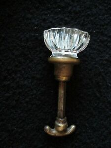 Antique Crystal Glass Brass Door Knob 12 Multifaceted Spindle Lock Setscrew