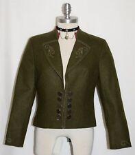 Loden WOOL JACKET Dirndl Dress German Women EMBROIDERY Riding Coat GREEN B39 8 S