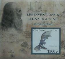 Leonardo da Vinci Inventor flying machine science Ivory Coast 2012 IMPERF #P255