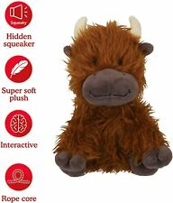 More details for rosewood tough plush knot rope core cow dog squeaky toy 39171