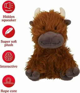Rosewood Tough Plush Knot Rope Core COW Dog Squeaky Toy 39171