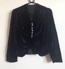 RARE Vintage Black Velvet Long Sleeved Top, Popper Button Down Size 8 / 10
