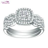 1.3ct Round White Cz 925 Sterling Silver 3pcs Wedding Engagement Ring Set 5-10