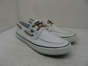 Sperry Top-Sider Men's Bahama II 2-Eye Casual Boat Shoes White-Canvas Size 9M