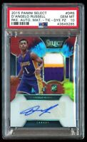 2015-16 Panini Select D'Angelo Russell /25 Tie Dye Rookie Auto PSA 10 Gem Mint