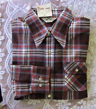 63359eb54976 NOS 1977 VTG Levi s USA Panatela Mens Long Sleeves Flannel Brown Plaid Shirt  L