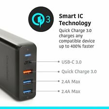 Multi Port USB Wall Charger 75W 4 Port Fast Charge 3.0 Desktop Charging Station