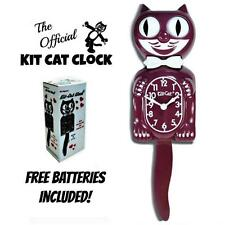 "BURGUNDY RED KIT CAT CLOCK 15.5"" Maroon Free Battery LIMITED EDITION MADE IN USA"