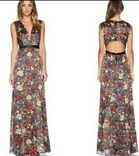 Alice + Olivia Triss Maxi Dress English Floral Leather Trim Size 0 NWOT