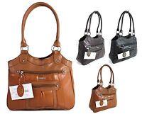 Large Women Ladies Two Strap Lorenz Real Patch Leather Shoulder  Handbag