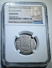 1763 El Cazador Shipwreck Silver 2 Reales NGC Genuine Antique 1700's Pirate Coin