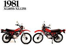 1981 HONDA XL125S & XL185S ON/OFF ROAD MOTORCYCLE BROCHURE -XL 125 S-XL 185 S
