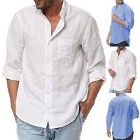 Men's Long Sleeve Shirt Grandad Neck Loose Causal Blouse Button Up T Shirt Tops