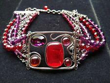 "Philippe Ferrandis 4 Strand Beaded Purple, Red, Pink Choker Necklace (14.5"")"
