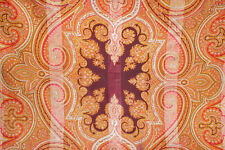 Antique paisley shawl 19th century large silk & cotton swirling printed design