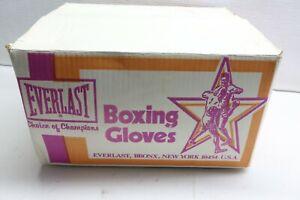 Vintage 80s New NOS Everlast 14 oz. Red Genuine Leather Boxing Gloves • USA 2pr