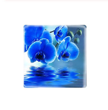 5 x 12mm Blue orchid flower square glass cabochon