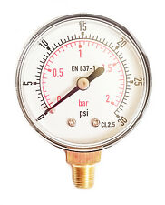 Low Pressure Gauge for Air Gas Oil or Water 50mm 0/30 PSI & 0/2 Bar 1/8 BSPT A