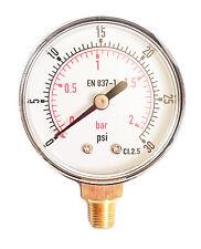 Manómetro de baja presión para aceite de gas de aire o agua 50mm 0/30 PSI y 0/2 Bar 1/8 BSPT un