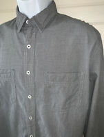 TRAVIS MATHEW Golf Gray Cotton Sz LARGE Button Up Shirt Micro Plaid Pockets EUC
