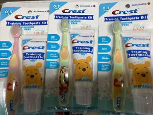 x3 Crest Baby Training Toothpaste Kit, Flouride-Free Winnie the Pooh + Tigger