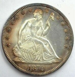 1879 LIBERTY SEATED SILVER 50 CENTS GEM UNC IRIDESCENT TONING!! RARE THIS NICE!!