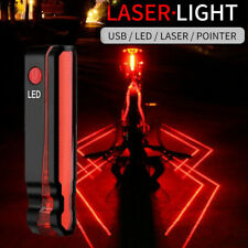 USB Rechargeable Mountain Bike Bicycle Laser & 5 LED Rear Tail Light Cycle Lamp