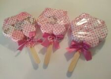Washcloth lollipop diaper cake girl baby shower gift
