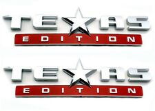 *TWO* CHROME/RED TEXAS EDITION EMBLEM CHEVY SILVERADO GMC SIERRA TRUCK DECAL.