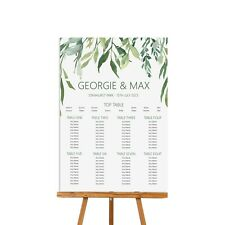 Wedding Greenery Seating Table Plan, A2 or A1 Foamboard, up to 18 tables
