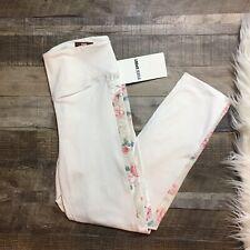 Victoria Secret PINK Sport Fleece Lined Floral Cream Leggings Full Length Large